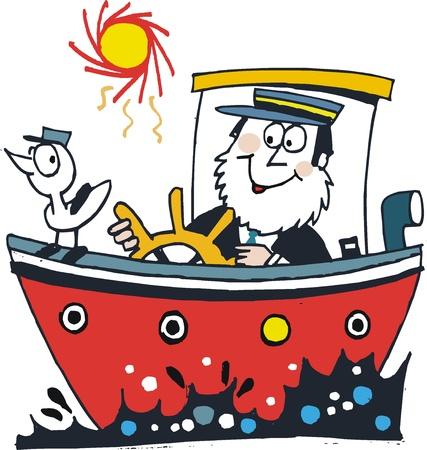 capitano: cartone animato del capitano felice in barca rossa