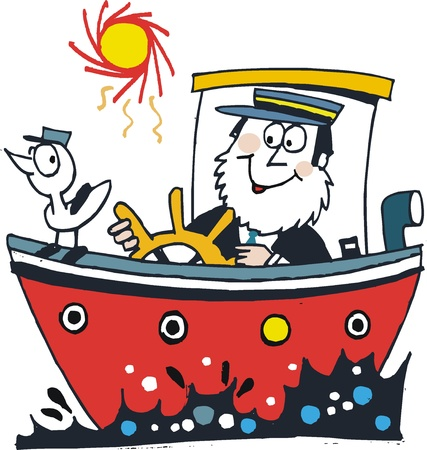 cartoon of happy captain in red boat Illustration