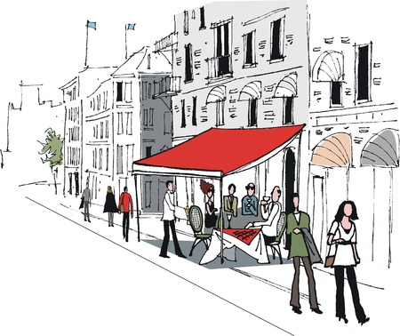 building sketch: Vector illustration of European cafe street scene