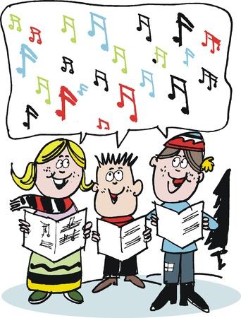 Vector cartoon of Christmas carol singers