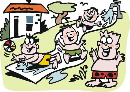 kids playing water: Vector cartoon of children playing on waterslide