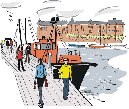 Vector illustration of Stockholm boat harbor, Sweden Vector