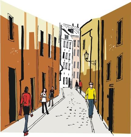 Vector illustratie van de oude binnenstad, Stockholm