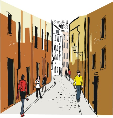 scandinavian people: Vector illustration of Old Town, Stockholm Illustration