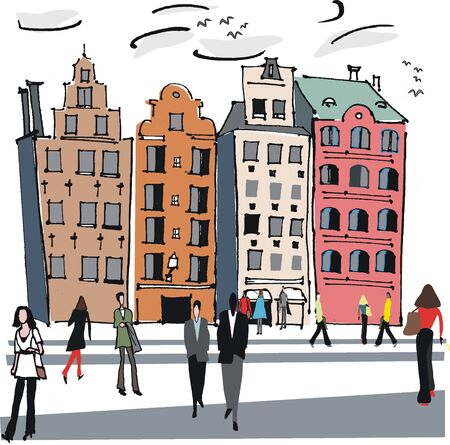 town square: Vector illustration of old buildings, Stockholm