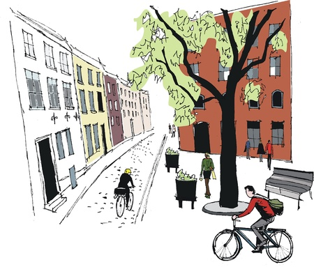 informal: Vector illustration of Stockholm street scene