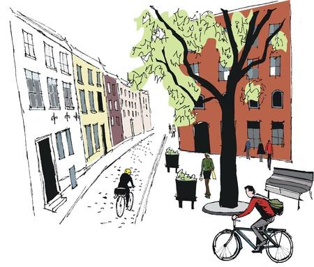 Vektor-Illustration von Stockholm Straßenszene