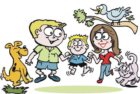 familia parque: Vector de cartoon de familia feliz al aire libre