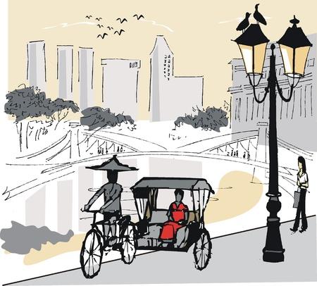 quay: Vector illustration of Singapore rickshaw  Illustration