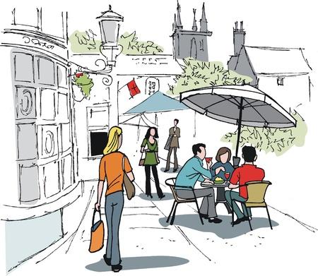 Vector illustration of people drinking at hotel  Illustration
