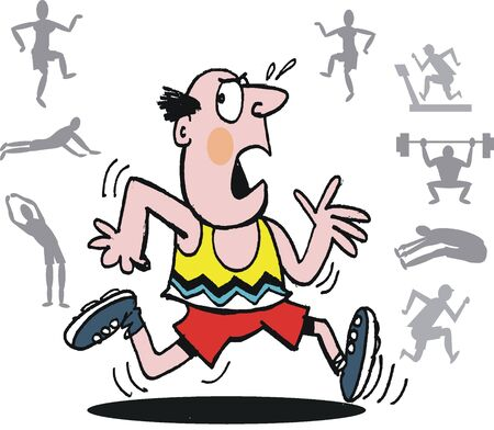 cartoon man: Vector cartoon of man exercising