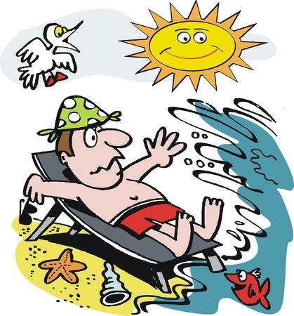surprised man on beach Stock Vector - 10297938