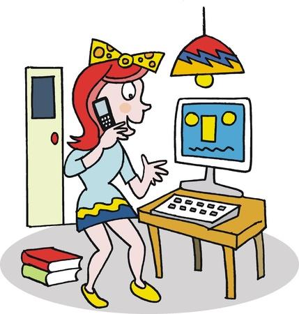 mobile cartoon: teenager using mobile