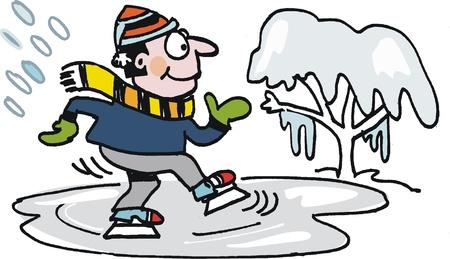 happy skater on ice Stock Vector - 10297935