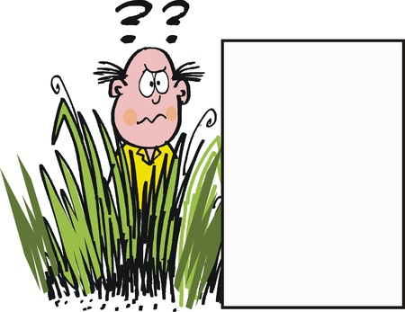 frustrated: Puzzled gardener in long grass cartoon
