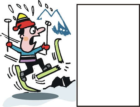 dismay: skier falling off skis Illustration