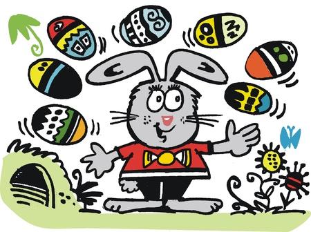rabbit hole: Vector cartoon of happy rabbit juggling eggs.