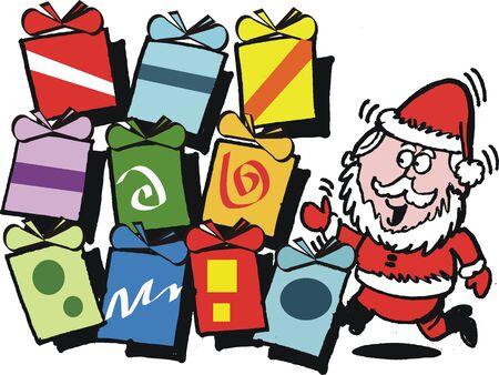 cartoon present: cartoon of Santa Claus with Christmas gifts Illustration