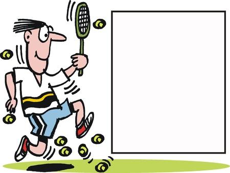 Vector cartoon of running tennis player Stock Vector - 10322556