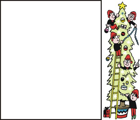 Vector cartoon of elves decorating Christmas tree
