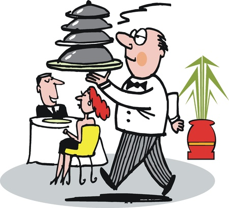 humourous: Vector cartoon of waiter carrying dishes