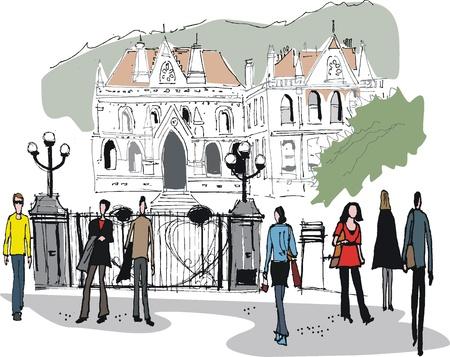 historic building: Vector illustration of old buildings, Wellington New Zealand