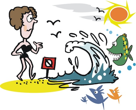 the bather: Cartoon of shy woman bather at beach