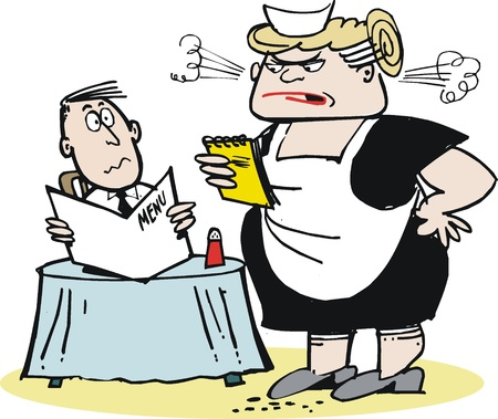 humorous: Cartoon of aggressive waitress