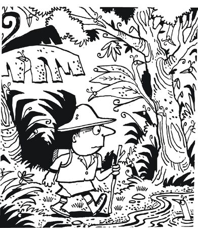 dense: Vector cartoon of explorer in dense jungle