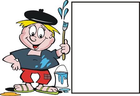 Vector cartoon of happy artist Stock Vector - 10362914
