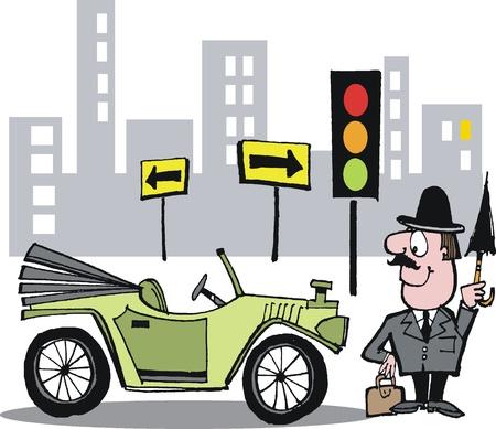 convertible car: Vector cartoon of antique automobile