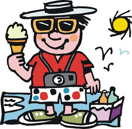 hunger: Vector cartoon of happy man with ice cream