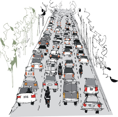 Vector illustration of crowded freeway Vector