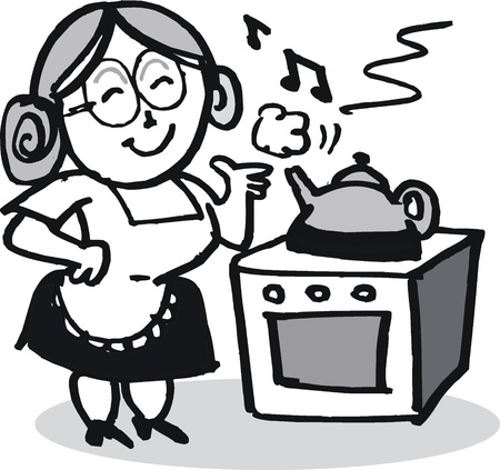 old people smiling: Vector cartoon of elderly woman boiling kettle Illustration