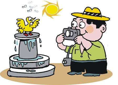 Vector cartoon of tourist photographing fountain Vector