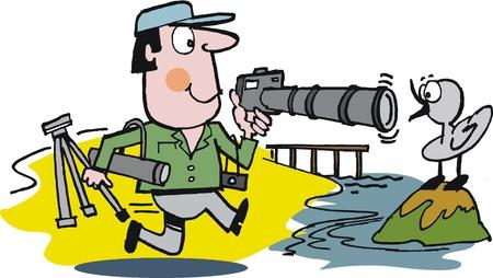 Vector cartoon of photographer and bird Stock Vector - 10362905