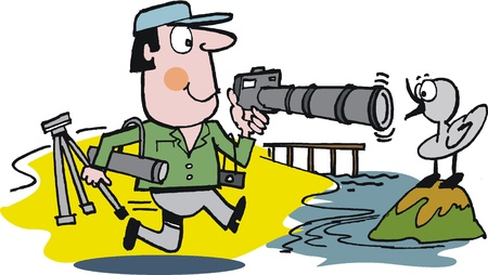 tripods: Vector cartoon of photographer and bird Illustration