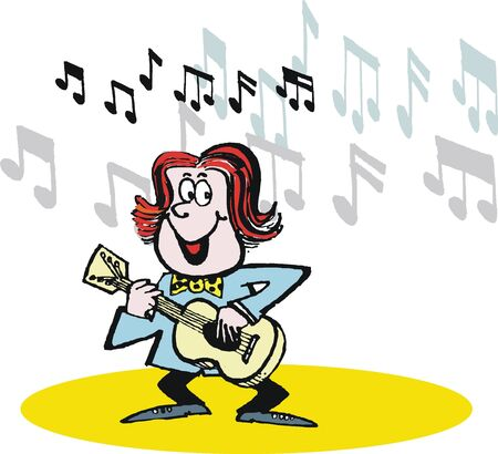 guy playing guitar: Vector cartoon of happy guitar player
