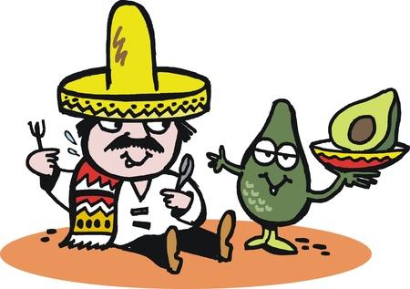 avocados: Vector cartoon of Mexican man with avocado.