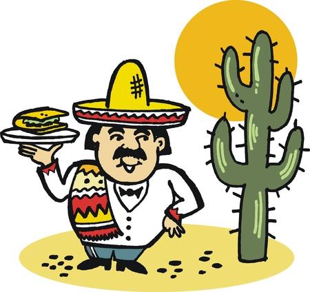 mexican sombrero: Illustrazione vettoriale di uomo messicano con pasto taco