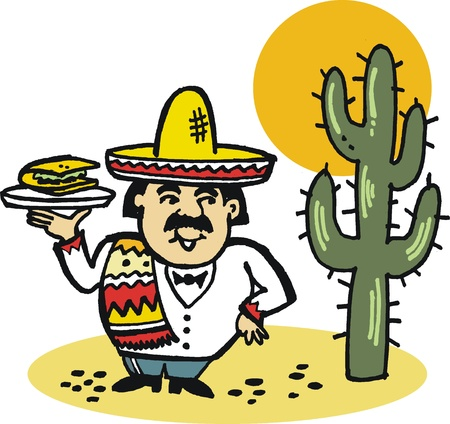 taco: Vector illustration of Mexican man with taco meal