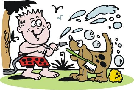 Vector cartoon of boy giving dog a bath Vector
