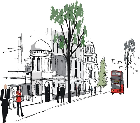 footpath: Vector illustration of Whitehall buildings, London England