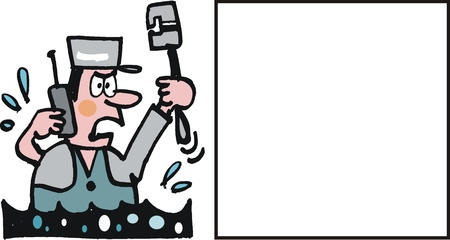 Vector cartoon of plumber on mobile phone Vector