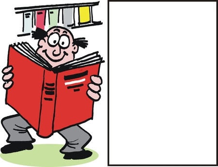 reference book: Vector cartoon of man reading large book
