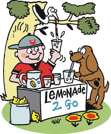 bancarella: Cartoon del piccolo ragazzo con box bere limonata Vettoriali