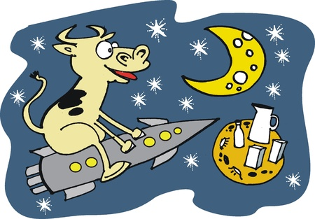 Cartoon of cow riding rocket to moon Stock Vector - 10370604