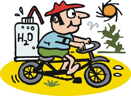 thirsty: Vector cartoon of man riding bicycle in desert