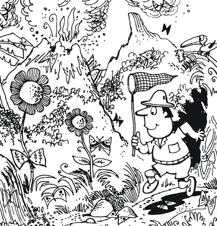 Vector cartoon of explorer collecting butterflies Vector