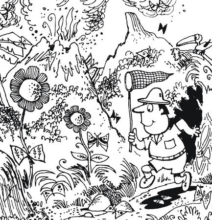 erupting volcano: Vector cartoon of explorer collecting butterflies